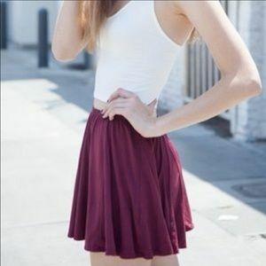 Brandy Melville Maroon Lightweight Circle Skirt OS